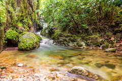 Beautiful waterfall and small river from mountain in rain forest Stock Images