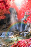 Beautiful waterfall with soft focus and rainbow in the forest, business concept. Beautiful waterfall with soft focus and rainbow in the forest Royalty Free Stock Photos