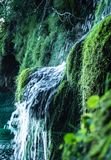 Beautiful Waterfall streaming down a fresh green hill into the water of the Lakes within the Plitvice National Park stock image