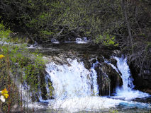 The beautiful waterfall in the sunset Plitvice Stock Image