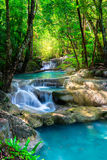 Beautiful waterfall in Thailand tropical forest Stock Photos