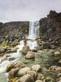 Beautiful waterfall Thingvellir National Park, Iceland, Iceland. Beautiful Oxararfoss waterfall in summer, Thingvellir National Park, Iceland Stock Photography