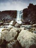 Beautiful waterfall Thingvellir National Park, Iceland, Iceland. Beautiful Oxararfoss waterfall in summer, Thingvellir National Park, Iceland - long exposure Stock Photos