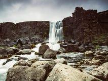 Beautiful waterfall Thingvellir National Park, Iceland, Iceland. Beautiful Oxararfoss waterfall in summer, Thingvellir National Park, Iceland - long exposure Royalty Free Stock Photography