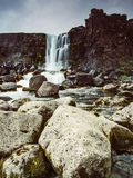 Beautiful waterfall Thingvellir National Park, Iceland, Iceland. Beautiful Oxararfoss waterfall in summer, Thingvellir National Park, Iceland - long exposure Royalty Free Stock Images