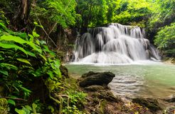 Beautiful waterfall in tropical rain forest at Kanchanaburi province, Thailand Royalty Free Stock Photography