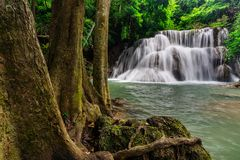 Beautiful waterfall in tropical rain forest at Kanchanaburi province, Thailand Stock Photos