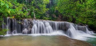 Beautiful waterfall in tropical rain forest at Kanchanaburi province, Thailand Stock Photography