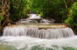 Beautiful waterfall in tropical rain forest at Kanchanaburi province, Thailand Stock Image