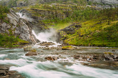 Beautiful Waterfall in the Valley of waterfalls in Royalty Free Stock Images