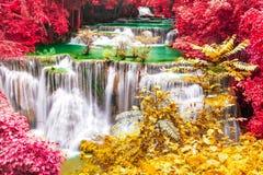 Beautiful waterfall in wonderful autumn forest of national park, Huay Mae Khamin waterfall, Kanchanaburi Province, Thailand.  stock image