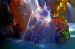 Beautiful waterfalls in a cave stock photo