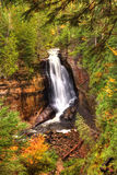 Beautiful Waterfalls in Fall Season of Michigan Stock Photography