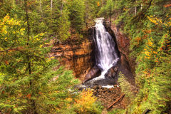 Beautiful Waterfalls in Fall Season of Michigan Royalty Free Stock Photography