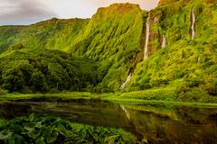 Beautiful waterfalls in Flores island, Portugal stock photo