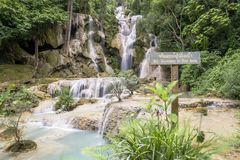 Beautiful waterfalls in Kuang Si, near Luang Prabang, Laos stock images
