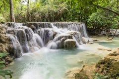 Beautiful waterfalls in Kuang Si, near Luang Prabang, Laos, Asia stock images