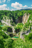 Beautiful waterfalls in National park Plitvice lakes, Croatia. Image of beautiful waterfalls in Croatia Stock Image