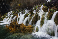 The beautiful waterfalls of Plitvice Lakes National Park. Cascading waterfalls in Plitvice Lakes National Park Stock Photo