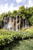 Beautiful waterfalls in Plitvice Lakes National Park in summer Royalty Free Stock Images