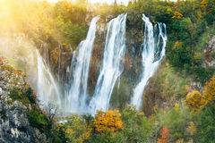 Beautiful waterfalls in the sunshine in Plitvice National Park, Croatia UNESCO Royalty Free Stock Image