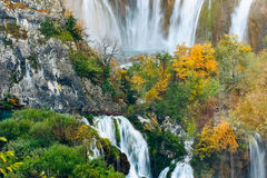 Beautiful waterfalls in the sunshine with pond in Plitvice National Park,Croatia Royalty Free Stock Photos