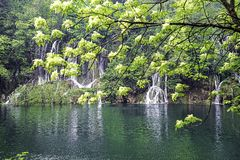 Beautiful waterfalls with turquoise water in the Plitvice Lakes National Park. Croatia. Selective focus stock photo