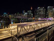 Beautiful Waterfront harbourside walkway at Darling Harbour with cityscape view at the background in night time.rpose spaces. SYDNEY, AUSTRALIA On June 10, 2019 royalty free stock photos