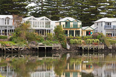 Beautiful waterfront houses along the Moyne River in Port Fairy, Stock Photography