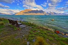 Lake Wakatipu Park Queenstown New Zealand royalty free stock photography