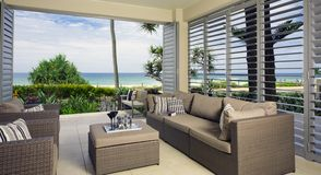 Beautiful waterfront suite with ocean views. On a summers day in tropical Queensland Australia Stock Photography