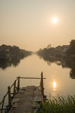 Beautiful Watm View Of Rural Canal. Of City Near Bangkok, Thailand Stock Images