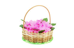 Beautiful wattled basket with artificial flowers Stock Photography