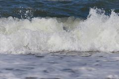 Beautiful waves in detail on the North Sea beach, Denmark stock images