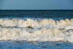 Waves splashing on the shore at the Mediterranean sea close take stock photos