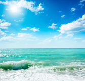 Beautiful Waving Sea and Blue Sky Royalty Free Stock Image
