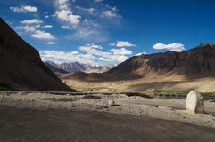 Beautiful way from Nubra Valley to Diskit Monastery in Ladakh, I Stock Image