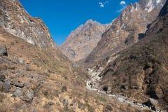 Beautiful way for trekking to Annapurna base camp Royalty Free Stock Photos