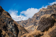 Beautiful way for trekking to Annapurna base camp Royalty Free Stock Photos