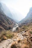 Beautiful way for trekking to Annapurna sanctury Royalty Free Stock Photo