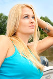 Beautiful and wealthy young blondy woman Stock Image