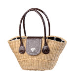 Beautiful weaved rattan handbag Stock Image
