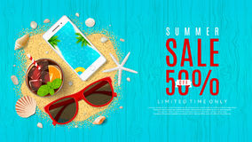 Beautiful web banner for summer sale Stock Images