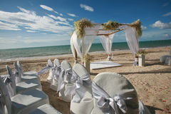 Beautiful wedding arch on the beach . Beautiful wedding arch on the beach in Thailand Royalty Free Stock Photo