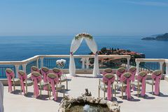 Beautiful wedding arch on the terrace Stock Photo