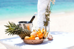 Beautiful wedding arch on tropical beach Stock Images