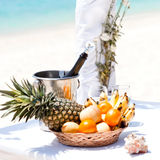 Beautiful wedding arch on tropical beach. Nobody. Travel wedding Royalty Free Stock Photos