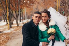 Beautiful wedding in autumn park Stock Photography