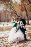 Beautiful wedding in autumn park Stock Images