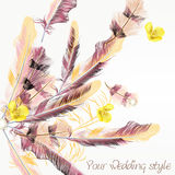 Beautiful wedding background with pink feathers Royalty Free Stock Photo